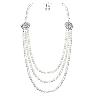 BABEYOND 1920s Gatsby Pearl Necklace Vintage Bridal Pearl Necklace Earrings Jewelry Set Multilayer Imitation Pearl Necklace with Brooch (Style2-Silver)