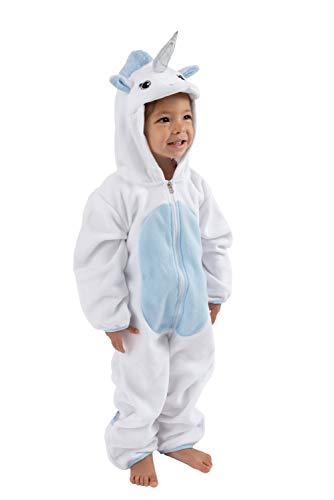 Cuddle Club Baby Erstausstattung aus Fleece Baby Body für Neugeborene bis 4 Jahren – Baby Strampler – Baby Kleidung/Kinder Pyjama Winterjacke – UnicornWhite/Blue3-6m