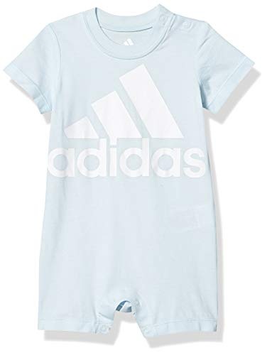 adidas Baby Boys Shortie Cotton Romper, Light Blue, 24 Months