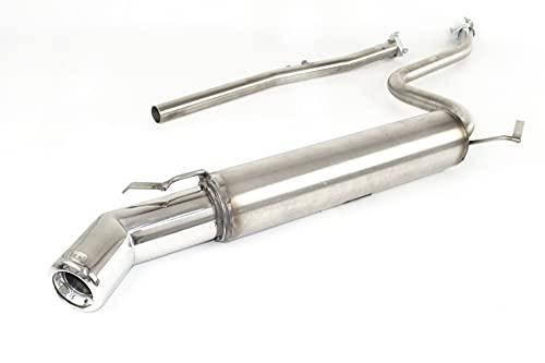 Silenciador de escape deportivo tubo de escape de acero inoxidable punta redonda unica ˜80mm compatible con Fiat Seicento HB 1.1i 54CV 1998 1999 2000 2001 2002 2003 2004 2005 2006 2007 2008 2009 2010