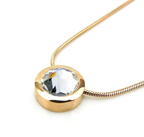 Magnetschmuck Set Dragon Eye Gold mit Kette hochwertig geschliffener Swarovski Solitaire Crystal weiß Miore 24k hartvergoldet Energetix 4you 459/1788