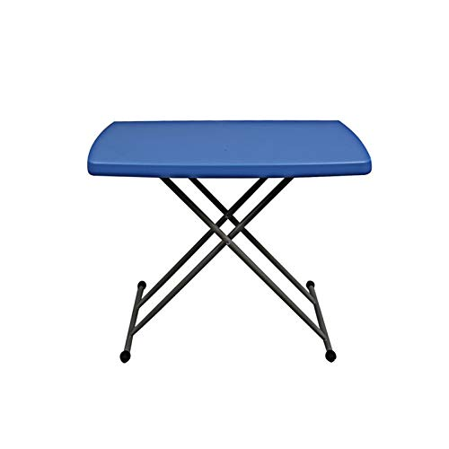 Laptop Desk Cart Folding Trestle Table,Aluminum Portable Folding Camping - Easy To Store, Suitable For Indoor & Outdoor Use 80x80 X (46-74) Cm - Blue Computer side table