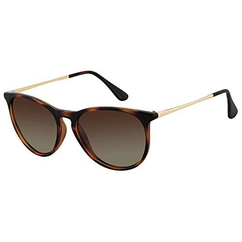 EFE Gafas de Sol Polarizadas Deportivas para Mujeres y Hombres Unisex rectangulares y Moda Polaroid para Senderismo Conducir Excursión Marrón