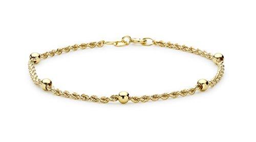 Carissima Gold Armband aus 9 Karat Gelbgold, geflochtenes Design, mit Kugeln, 18 cm