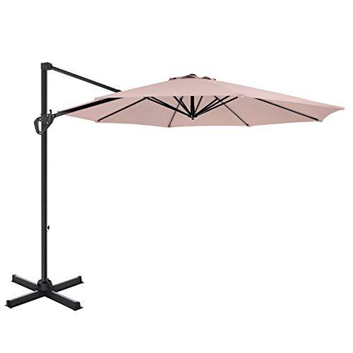SONGMICS Ampelschirm, Sonnenschirm, um 360° drehbar, Terrassenschirm Ø 3 m, UV-Schutz bis UPF 50+, Neigungswinkel verstellbar, Gartenschirm, mit Kurbel und Ständer, Taupe GPU35BR