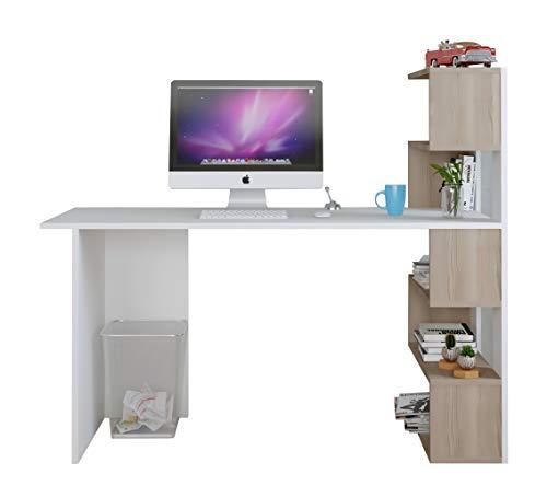 Homidea Deluxe Schreibtisch - Computertisch in modernem Design (Weiß/Nussbaum)