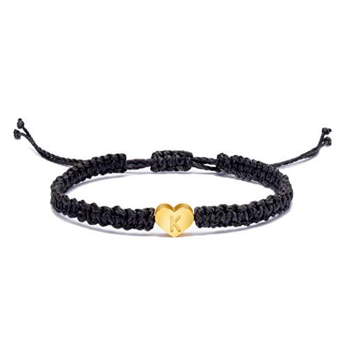 Dainty 18K Gold Initial K Letter Love Heart Charm Bracelets for Women Teen Girls Adjustable Bracelet Monogram Bracelet Alphabet Personalized Mother's Day Gifts for Mom Mum Mommy Mantra
