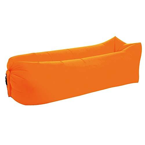 Cama inflable del saco de dormir perezoso de la playa al aire libre, diseño portátil, impermeable, a prueba de fugas que dobla el sofá inflable rápido (naranja)