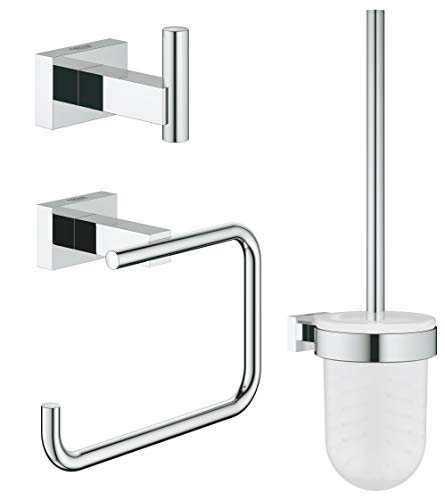 GROHE Essentials Cube Bad-Accessoires - WC-Set 3 in 1 (Material: Glas / Metall) chrom, 40757001