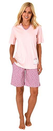 Süsser Damen Shorty-Pyjama Schlafanzug Kurzarm mit Donut als Motiv - 63863, Farbe:rosa, Größe2:44/46
