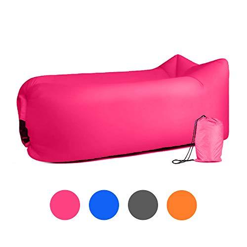 ZSZBACE Aufblasbares Sofa, Wasserdichtes Luftsofa, Tragbare Strand Sofa, für Camping,Picknick, aufblasbare Liege/Sitzsack (rosa)