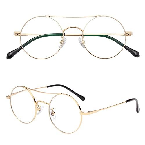 JIMMY ORANGE 老眼鏡 丸メガネ 正円 おしゃれ 軽い ブルーライトカット チタン合金 メンズ レディース 軽量 携帯用 リーディンググラス ゴールド 度数+300 JO8319