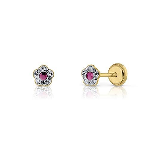 Boucles d'oreilles or 18 carats, fille ou femme, modèle fleur avec pierres serties autour et centre de couleur rose améthyste. Dimensions du bijou : 4,5 mm. Avec fermeture de sécurité maximale.