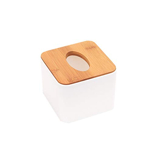 Elonglin Wooden Tissue Box Modern Look Paper Holder Boxes for Bathroom Dining Table Bedroom Storage Organizer Napkin Box Tissue Paper Holder Box Cover Case Napkin Holder (Cube)