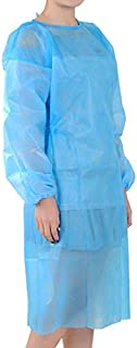10 Pack Blue Polypropylene Isolation Gowns for Medical Procedures, Disposable Gowns for Health-Care Workers & Patients, Contact Precautions Gowns with Elastic Cuffs, Tie Back, Latex Free, One Size