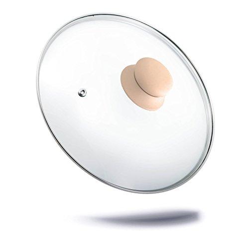 Colore viola con coperchio in vetro con coperchio in silicone e manico, coperchio di ricambio per padelle e coperchio in acciaio inox anello e ventilazione fori misura 22 cm