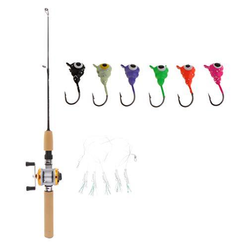 oshhni Portable Winter Ice Fishing Rod and Reel Combo Ultralight Casting & 6 Ice Hook
