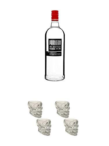 Partisan Vodka 40 Prozent 1,0 Liter + Wodka Totenkopf Shotglas 2 Stück + Wodka Totenkopf Shotglas 2 Stück