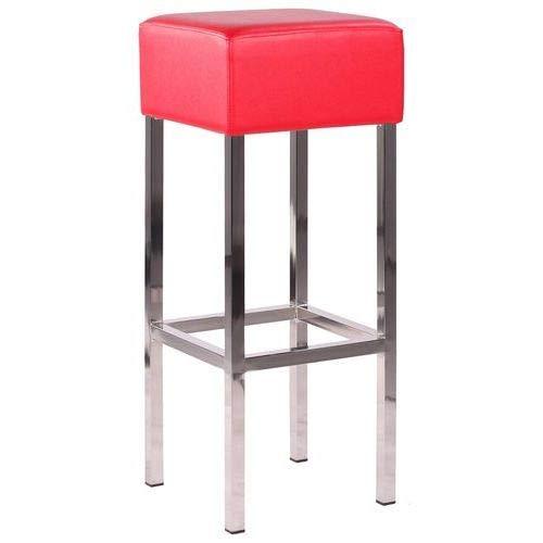 Barhocker Barstuhl Hochstuhl Mando mit gepolstertem Sitz in Kunstleder rot