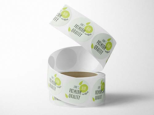 Oedim Roll of 500 Bio Quality Food Labels | 4 cm Diameter | Made of White Polypropylene Adhesive |