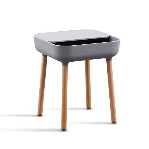 trand Lund Beistelltisch Nachttisch Couchtisch | Bunte Trendfarben | skandinavisches Design | Ablage und Kabeldurchlass | Holz/Kunststoff | 40x40 cm | (Grey/grau)