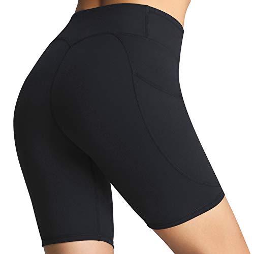 FITTIN - Pantaloncini da allenamento da donna, con tasca, per yoga, corsa, sport, palestra - nero - L