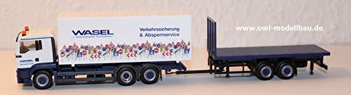 Herpa 310918 - Man TGS L Wechselkoffer-LKW mit Hänger und Flat Wasel Krane - 1:87