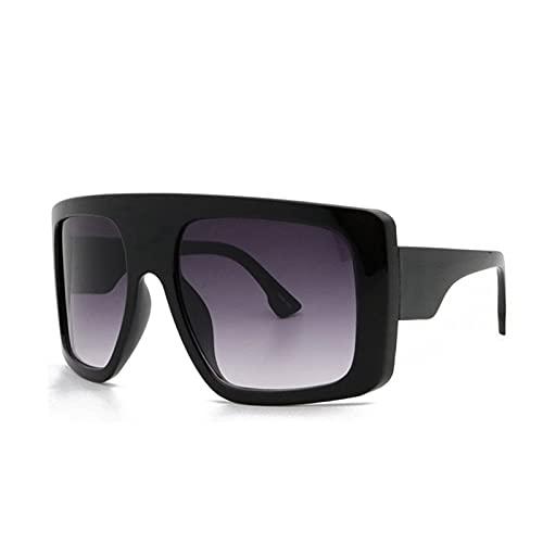Celebridad Gran Escudo Cuadrado Square Gafas De Sol Mujeres Marca De Gran Tamaño Gafas De Sol Hombres Vintage Beige Shades Lady Windshield Oculos UV400 (Lenses Color : Double Grey)