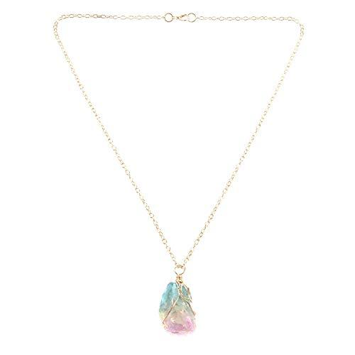 TOOGOO Natural Cristal Irregular Colorido Arco Iris Piedra Cuarzo Chapado en Oro Chakra Roca Colgante Regalo de Joyería de Moda de Las Mujeres Fluorita Colgante Ornamento