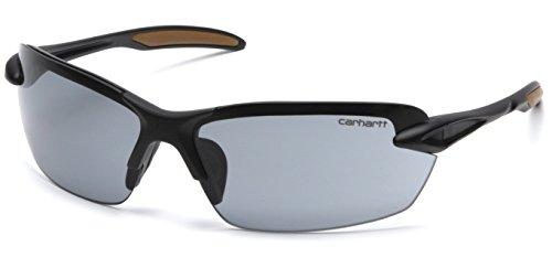 Carhartt Spokane Lightweight Half-Frame Safety Glasses, Black Frame, Gray Lens
