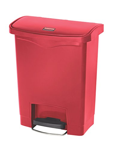 Rubbermaid Commercial 1883564 Slim Jim Resin Step-On Wastebasket, Front-Step, 8-gallon, Red
