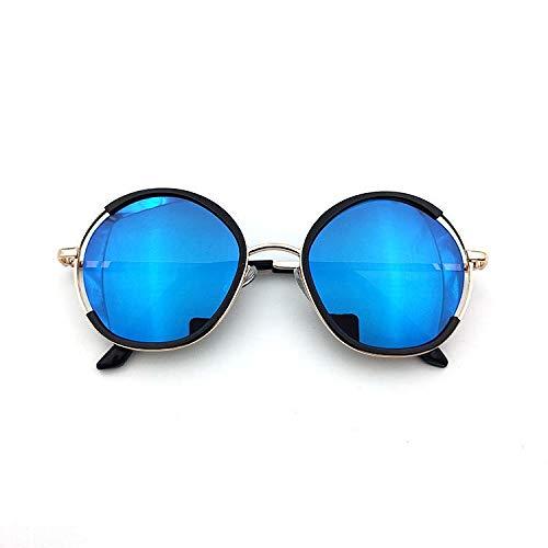 xingxing Gafas de sol para niños con marco redondo para niños y niñas, gafas de sol de metal, protección UV (lentes: azul)