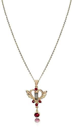 qiangloushui Collar Collar con Colgante Encantador De Moda, Corazón De Amor Y ala Y Lindo Collar Colgante De Piedra Roja, Joyería De Fiesta