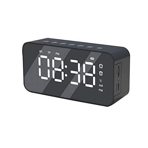 ALEOHALTER Radio Reloj Despertador USB, Relojes despertadores para Dormitorio con Altavoz inalámbrico Bluetooth, Juego de Tarjetas TF, termómetro, Pantalla LED Regulable con Espejo Grande