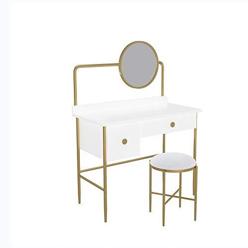 ChengBeautiful Tocador Vanity Table Set for Las niñas con LED Espejo Redondo y Acolchonadas heces Mesa de Escritorio 2 cajones deslizantes (Color : White, Size : 100x40x75CM)