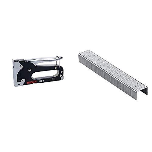 Bosch 0603038000 Graffatrice Manuale HT 8, Graffe Tipo 53, 4-8 mm & 2609255820 Fine Graffetta a Filo, Tipo 53 11, 4 x 0.74 x 8 mm