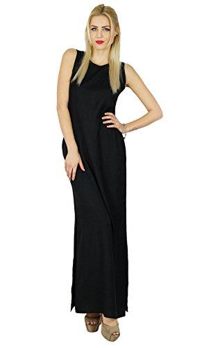 Bimba Frauen Lange Schwarze Maxi-Kleid-Seiten-Schlitz beiläufiger Komfort Rayon Gewohnheits-Kleidung