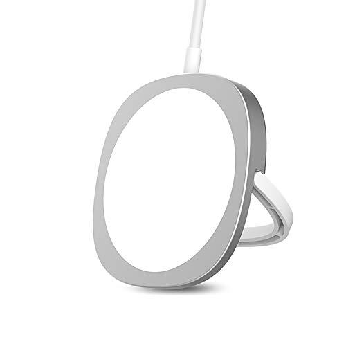 Cargador Inalámbrico Magnético Qi de 15W con Soporte para Anillo, para iPhone 12 Mini Pro Max Samsung Huawei Xiaomi, Almohadilla de Carga de Imán Rápido Portátil (Blanco)
