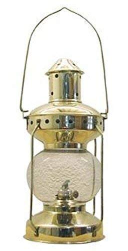 linoows Kajüten-Laterne, Petroleum Lampe, Schiffslaterne, Leuchte Messing poliert 31 cm