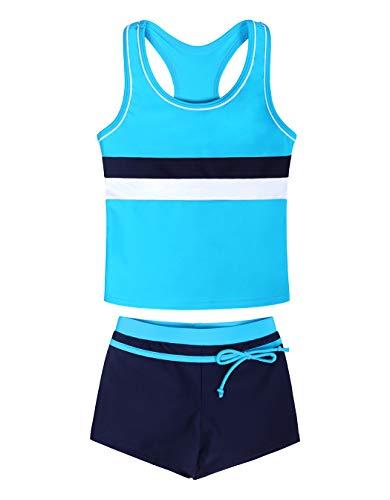 WonderBabe Kids Girl 2-teiliges Sport-Badeanzug-Oberteil und Boxershorts Tankini Badeanzug-Badeanzug-Set Blau Alter 12-13 Jahre