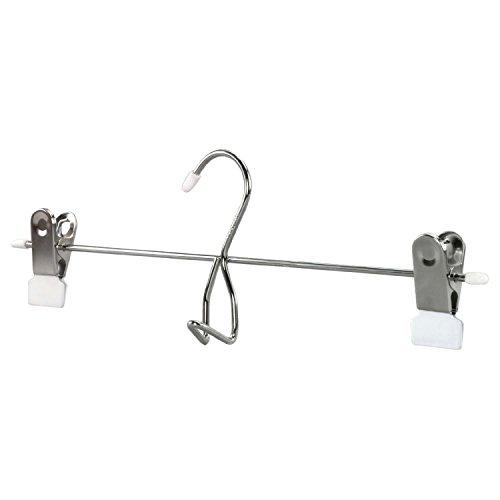 Hangerworld 12 Perchas 34cm con Pinzas para Pantalones y Faldas Metal Acabado Blanco Antideslizante Gancho Accesorios