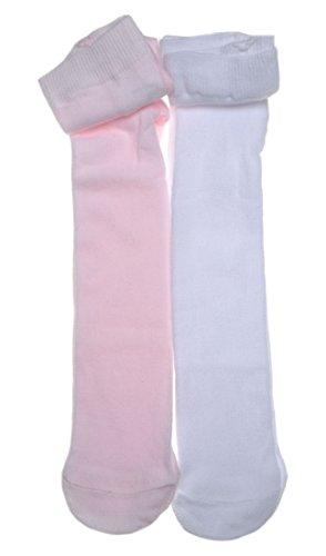 WB Socks 2 Paar einfarbige Baby Strumpfhose, Weiß & Rosa