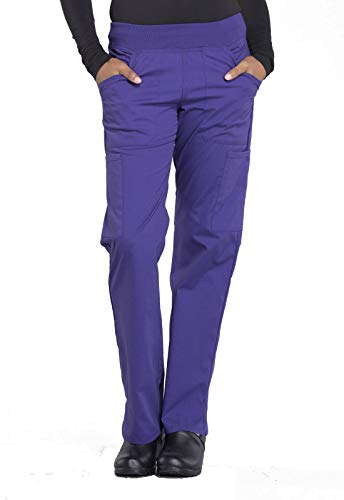 Cherokee Workwear Professionals Mid Rise Straight Leg Pull-on Cargo Scrub Pant, S, Grape