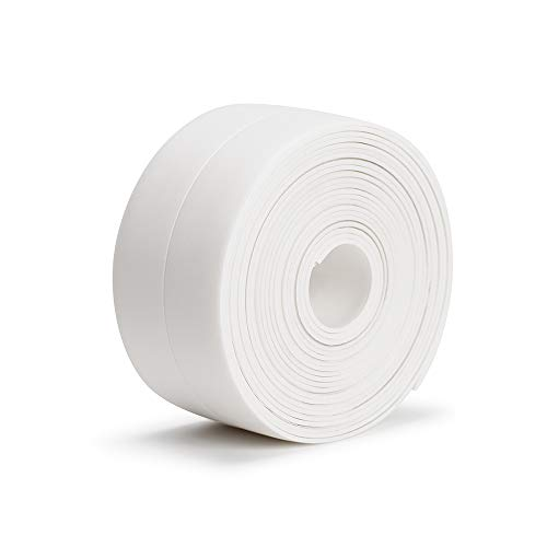 "Tape Caulk Strip Borui Waterproof Caulk Strip Self Adhesive PVC Sealing Repair Tape for Bathtub Bathroom Shower Toilet Kitchen and Wall Edge 1-1/2"" x 11' White"