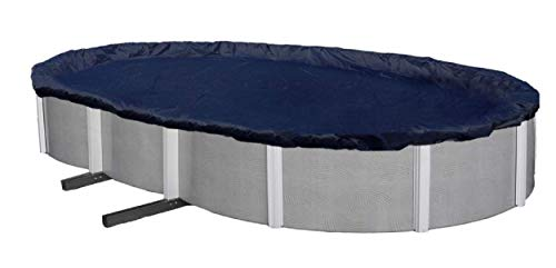 Aboveground Pool Winter Cover, Fits 15' x 24' Oval, Solid Blue – Includes Winch and Cable for Easy Installation, Superior Strength & Durability, Treated for UV Protection - Winter Block WC1524OV