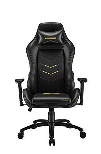 Tesoro Alphaeon S3 Gaming Stuhl F720 Gaming Chair Chefsessel Schreibtischstuhl mit PU Kunstleder, Lordosenstütze und Seat Xtension Sitzflächenerweiterung Gelb/Yellow