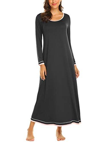 Brinol Damen Nachthemd Sleepshirt Schlafanzug Lang Ärmeln Locker Nachtwäsche Kontrastfarbe voller Länge Nachtkleid (S-XXL), Schwarz, EU 38(Herstellergröße: M)