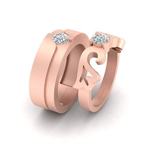 Juego de anillo de compromiso de plata de ley 925 con diamante solitario a juego de anillos de compromiso para él y ella