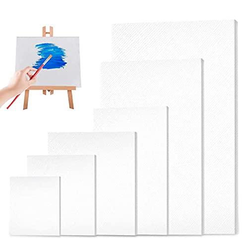 Set de Lienzos Preestirados, 6 Piezas Paneles de Lienzos, Lienzo en Blanco, Lienzo para Pintar para Dibujar, Decoración de Arte, Regalo de Manualidades DIY (10*10  10*15  15*15  15*20  20*20  20*30CM)