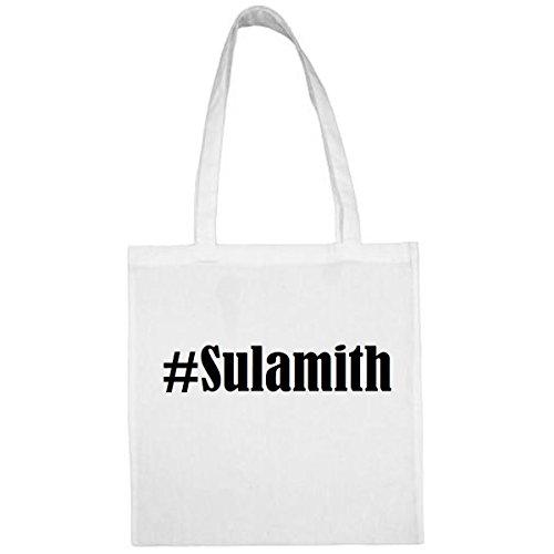 Tasche #Sulamith Größe 38x42 Farbe Weiss Druck Schwarz